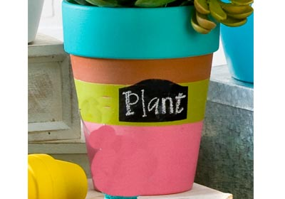 Stripes with Label Clay Pot with FolkArt Paint