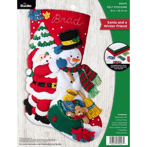 Bucilla ® Seasonal - Felt - Stocking Kits - Santa and a Winter Friend - 89247E