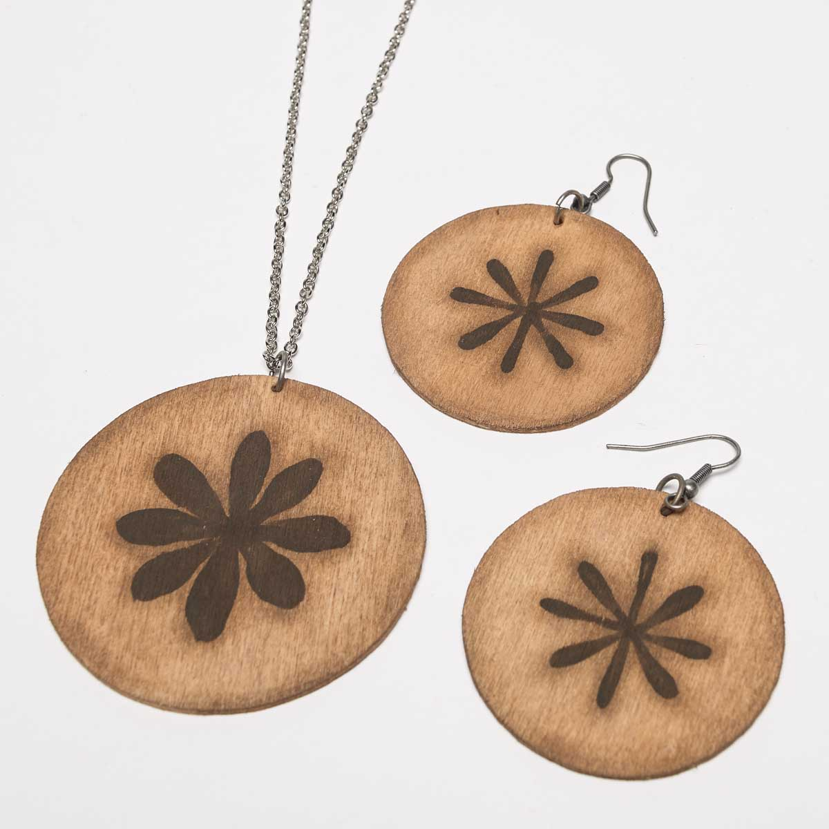 Wooden Tag Necklace and Earrings
