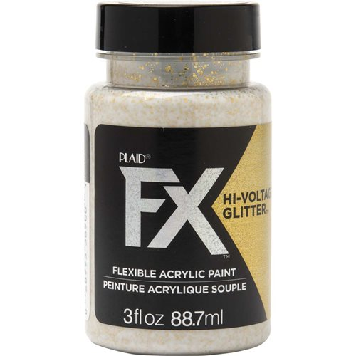 PlaidFX Hi-Voltage Glitter Flexible Acrylic Paint - Gold, 3 oz. - 36900