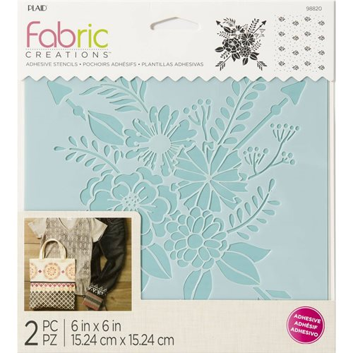 "Fabric Creations™ Adhesive Stencils - Floral, 6"" x 6"""