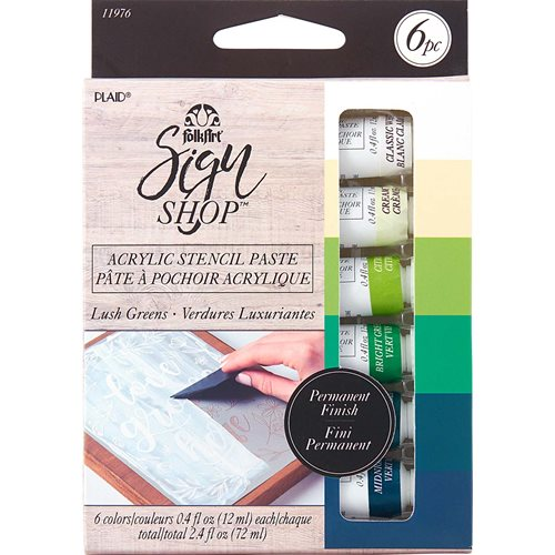 FolkArt ® Sign Shop™ Acrylic Stencil Paste Set - Lush Greens, 6 pc. - 11976
