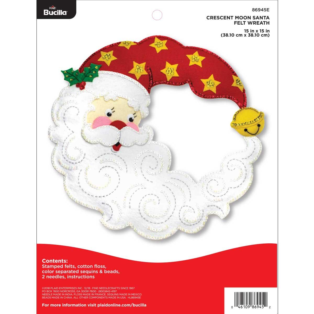 Bucilla ® Seasonal - Felt - Home Decor - Crescent Moon Santa Wreath - 86945E