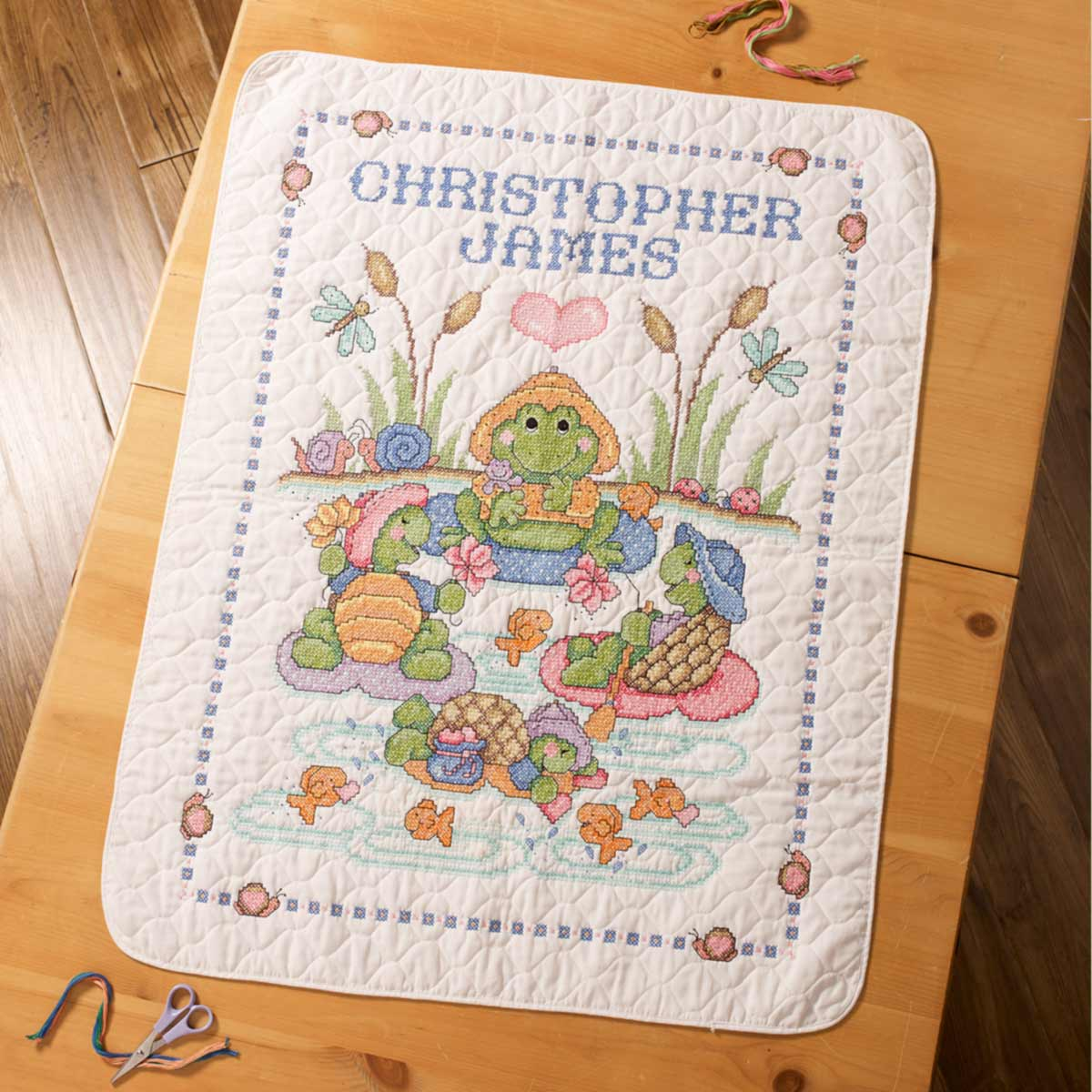 Bucilla ® Baby - Stamped Cross Stitch - Crib Ensembles - Pond Pals - Crib Cover - 47778