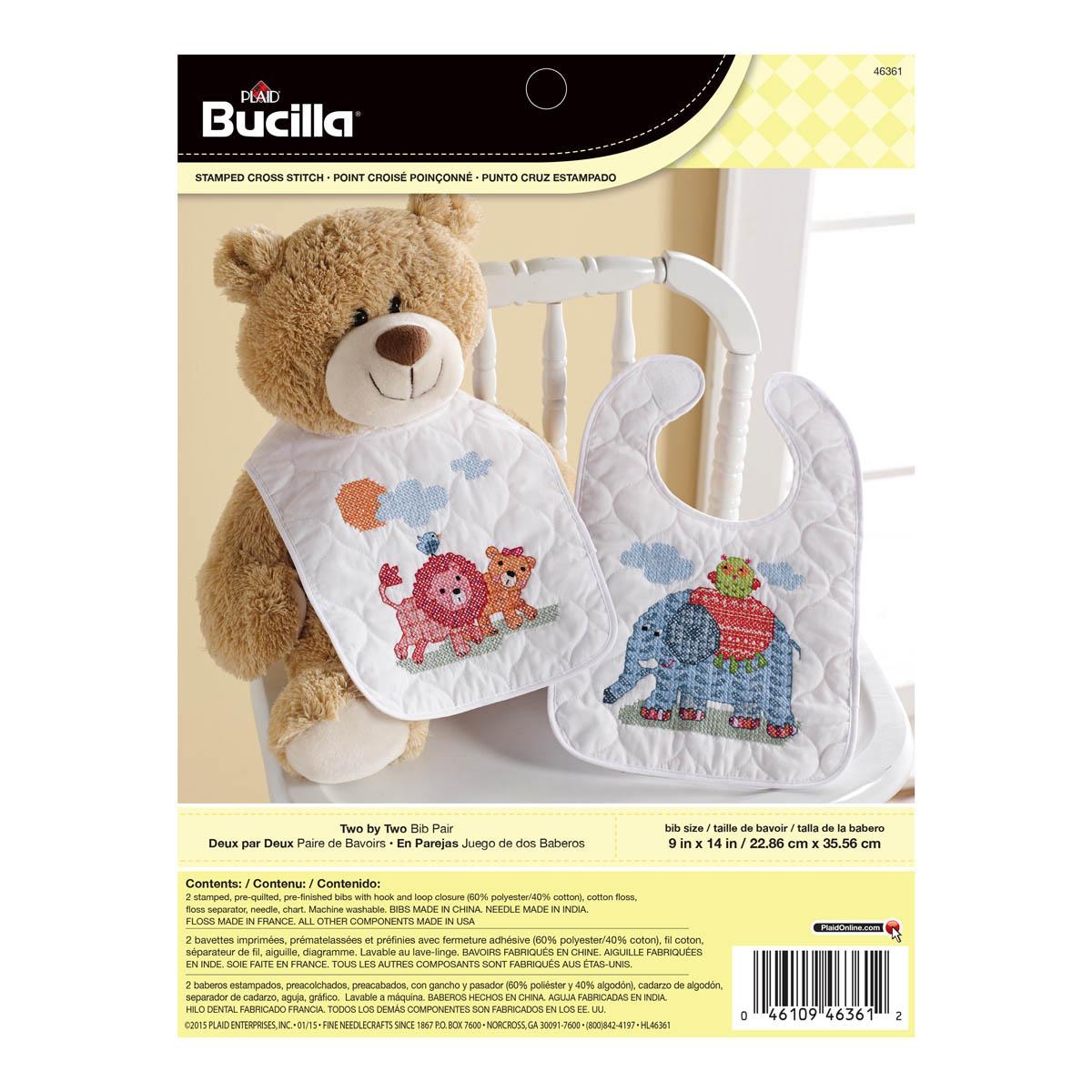 Bucilla ® Baby - Stamped Cross Stitch - Crib Ensembles - Two By Two - Bib Pair Kit