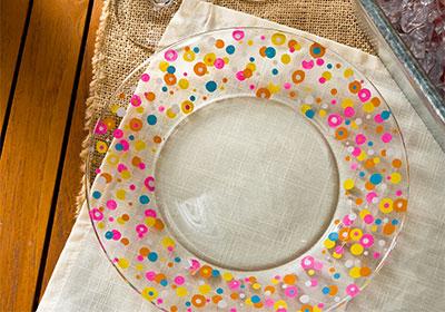 Bright Spring Confetti Glasses and Plate