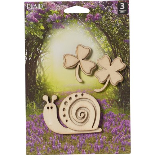 Plaid ® Wood Surfaces - Fairy Garden - Snails and Clovers 3 pc.