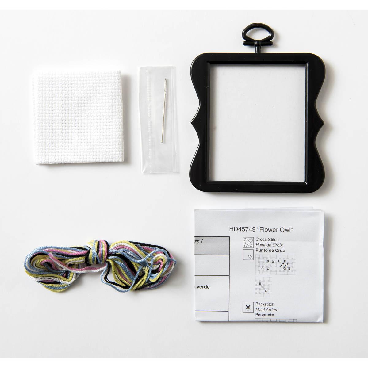 Bucilla ® Counted Cross Stitch - Beginner Stitchery - Mini - Flower Owl - 45749