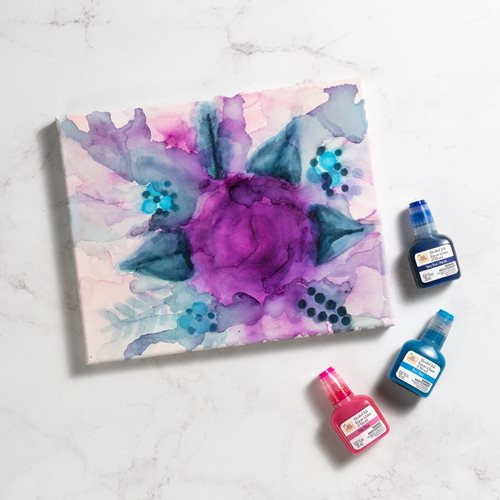 Alcohol Ink Purple Rose Canvas