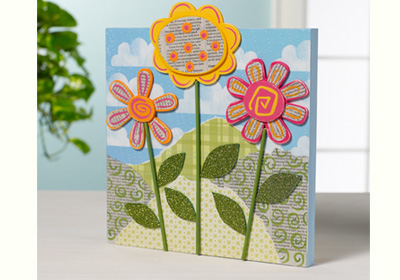 3-D Collaged Flower Panel