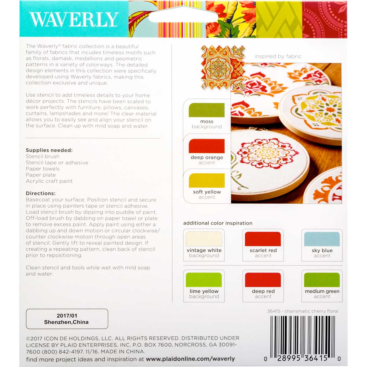 Waverly ® Laser Stencils - Cherry Floral, 5.5