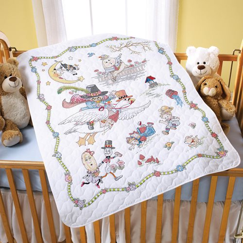 Bucilla ® Baby - Stamped Cross Stitch - Crib Ensembles - Mary Engelbreit™ - Mother Goose - Crib Cove