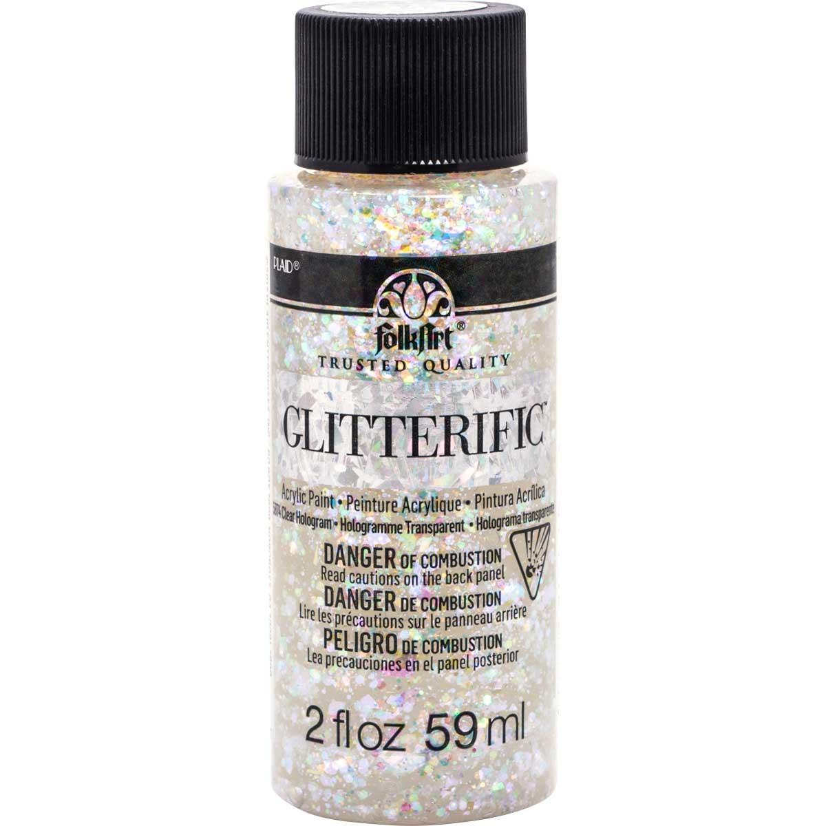 FolkArt ® Glitterific™ Acrylic Paint - Clear Hologram, 2 oz. - 5874