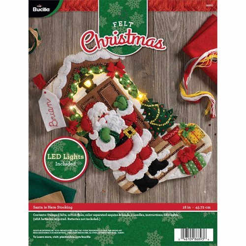 Bucilla ® Seasonal - Felt - Stocking Kits - Santa is Here with Lights - 86893