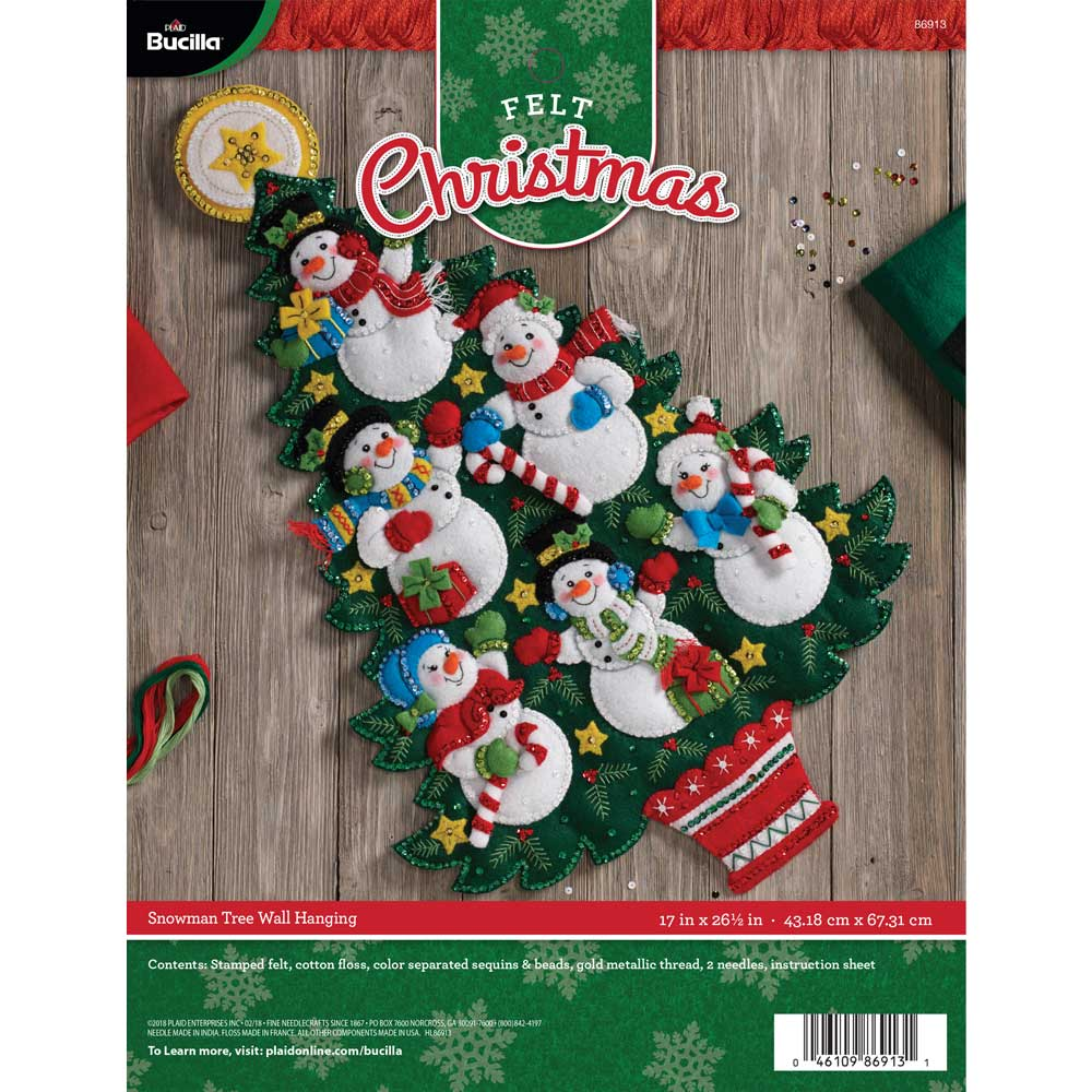 Bucilla ® Seasonal - Felt - Home Decor - Door/Wall Hanging Kits - Snowman Tree