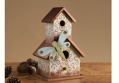 Scrolled Metallic Birdhouse with Dragonfly