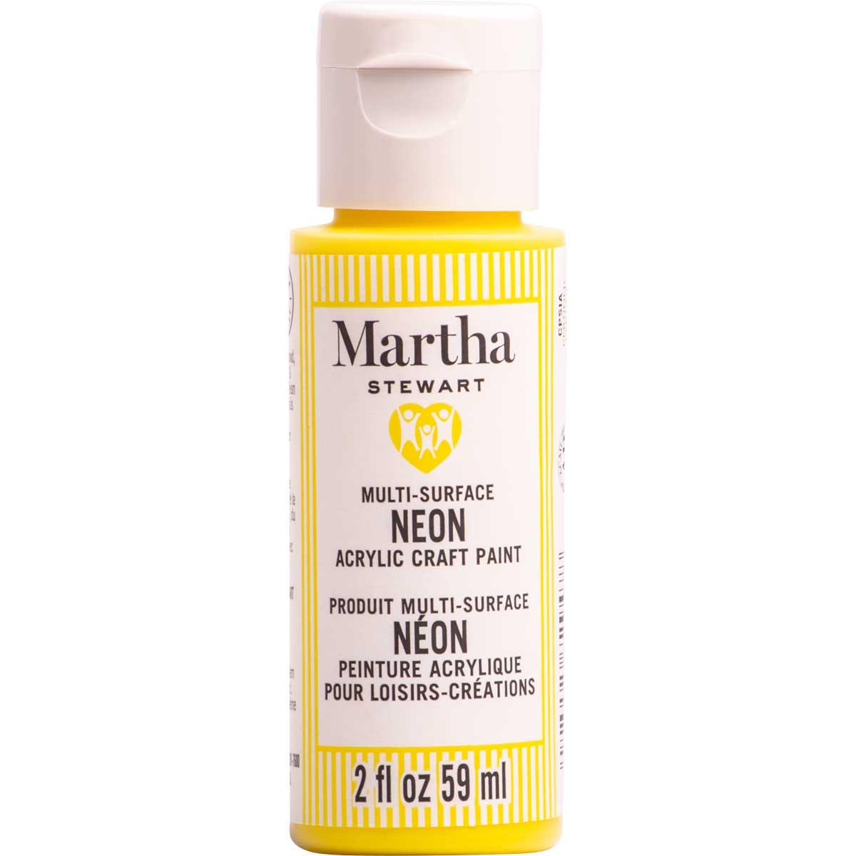 Martha Stewart ® Multi-Surface Neon Acrylic Craft Paint CPSIA - Pineapple Yellow, 2 oz. - 72947