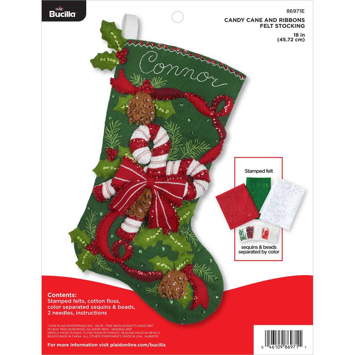 Bucilla ® Seasonal - Felt - Stocking Kits - Candy Cane and Ribbons - 86971E