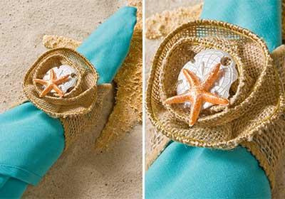 Burlap Napkin Ring for a Beach Wedding