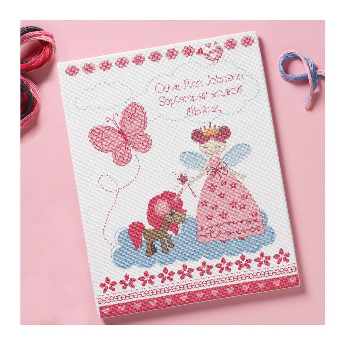 Bucilla ® Baby - Counted Cross Stitch - Crib Ensembles - Fairytale Princess - Birth Record Kit