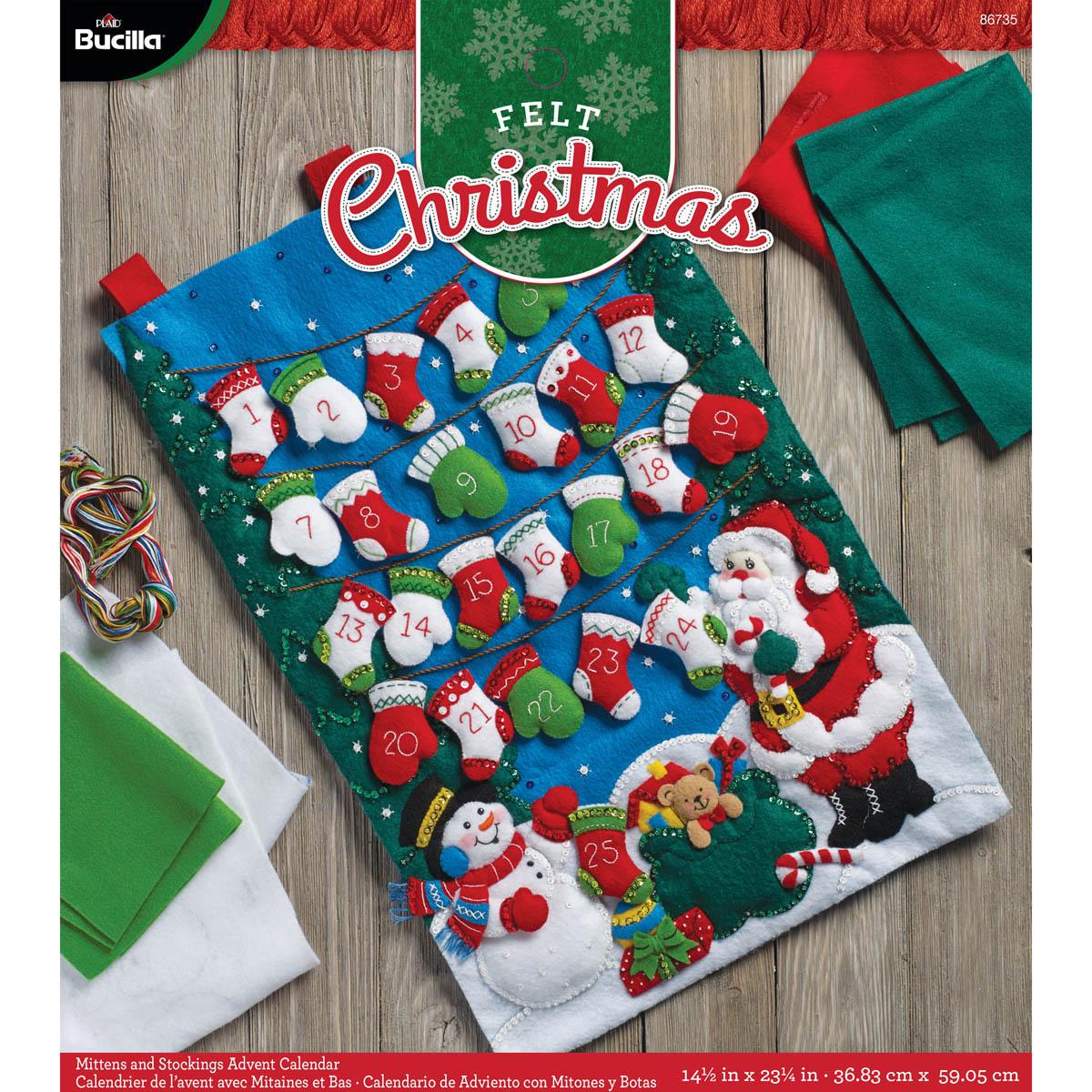 Bucilla ® Seasonal - Felt - Home Decor - Advent Calendar Kits - Mittens & Stockings