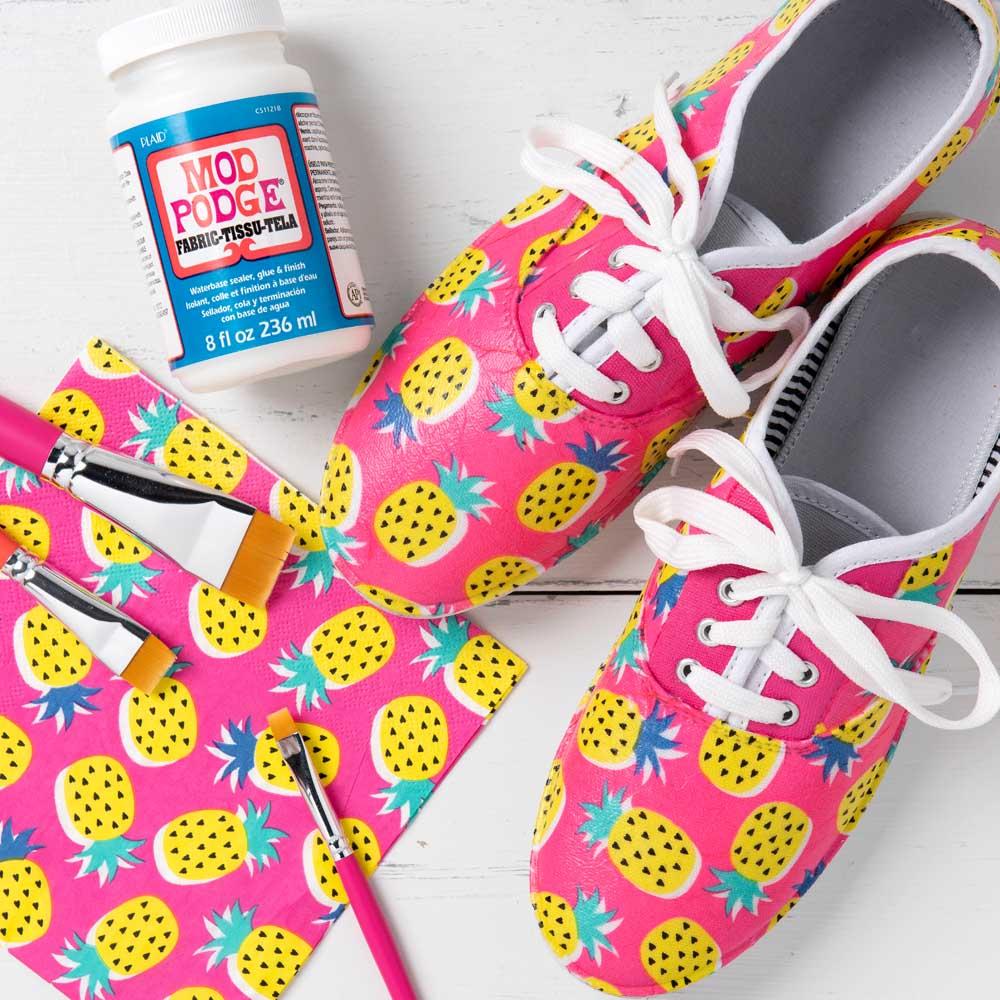 Decoupaged Pineapple Napkin Sneakers
