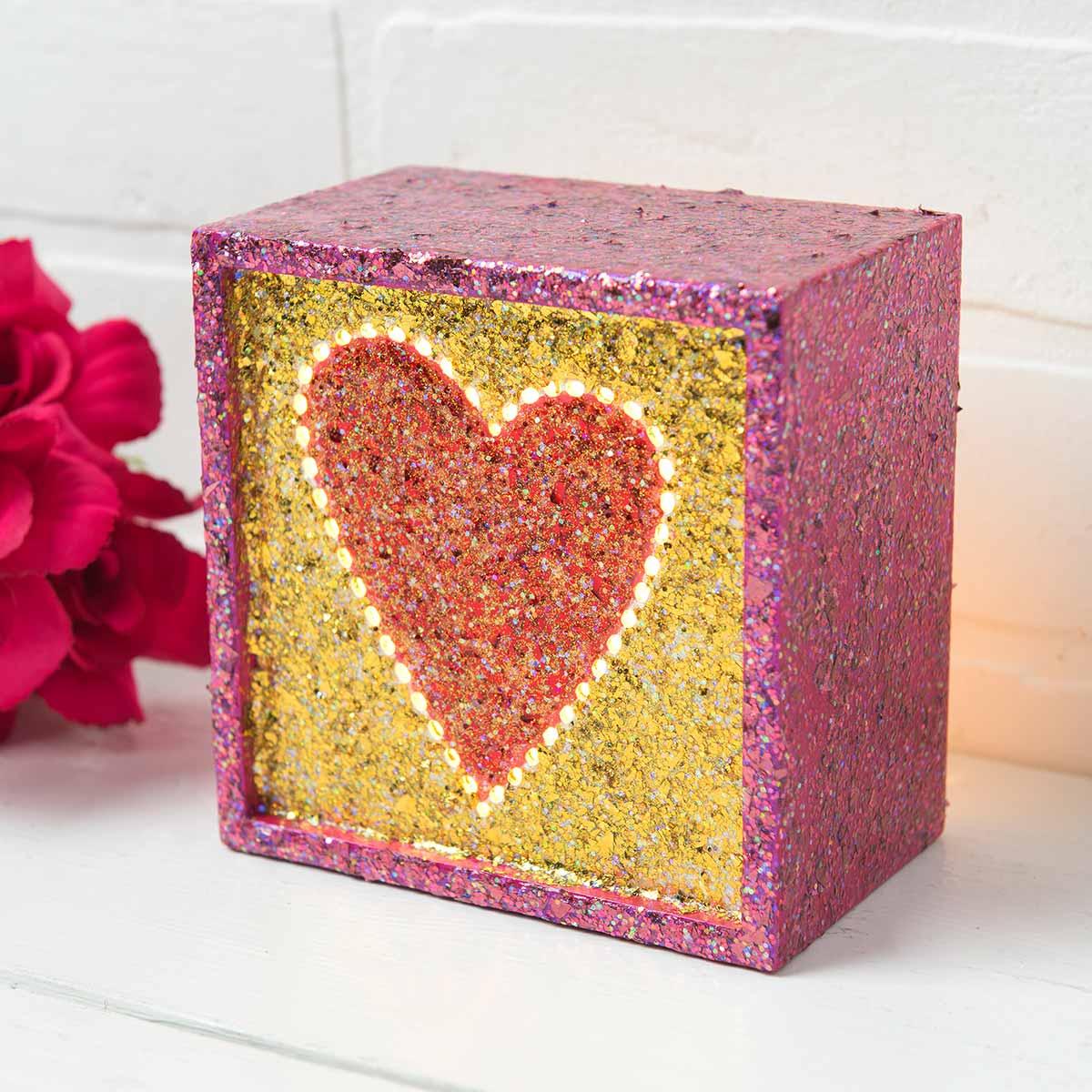 Glittery Heart Box for Valentine's Day