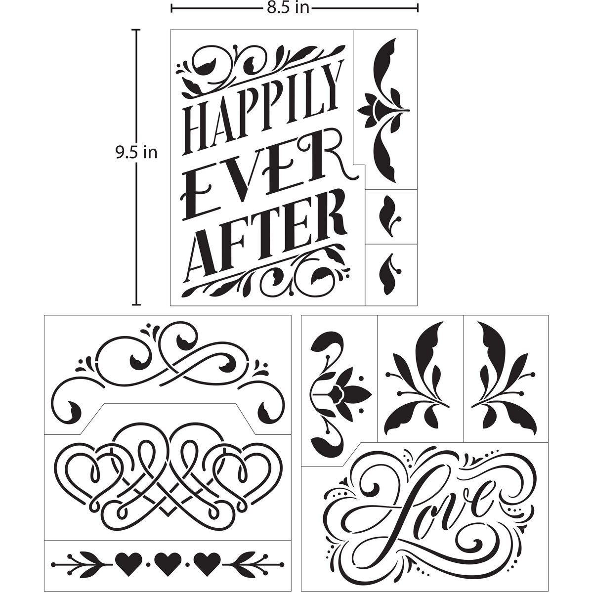 Hallmark Handcrafted Adhesive Stencils - Elegancia Design Pack, 8-1/2