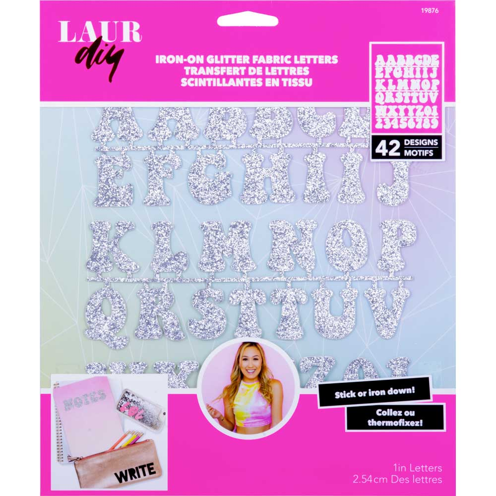 LaurDIY ® Iron-on Glitter Fabric Letters - Galaxy Gurl - 19876