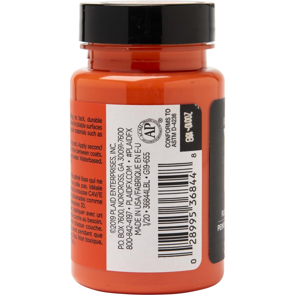 PlaidFX Smooth Satin Flexible Acrylic Paint - Orbital Orange, 3 oz. - 36844