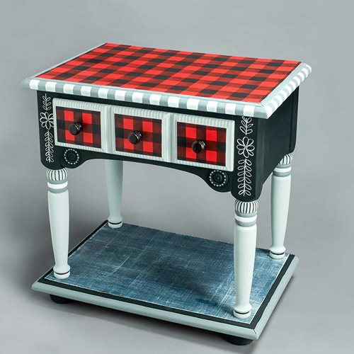 Buffalo Plaid Side Table