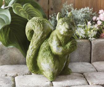 DIY Garden Decor - Mossy Squirrel Statuary