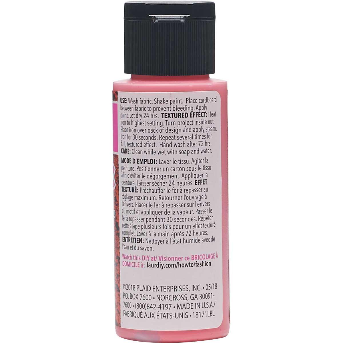 LaurDIY ® Texturific™ Fabric Paint - Rose Red, 2 oz.