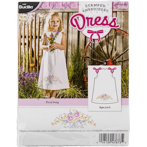 Bucilla ® Stamped Cross Stitch & Embroidery - Pillowcase Dress - Floral Swag