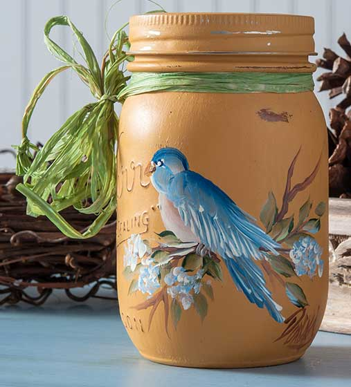Handpainted Bluebird Mason Jar