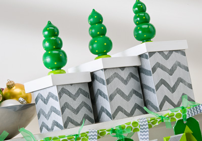 Delta Green and Silver Christmas Tree Boxes