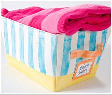 Striped Beach Towel Basket