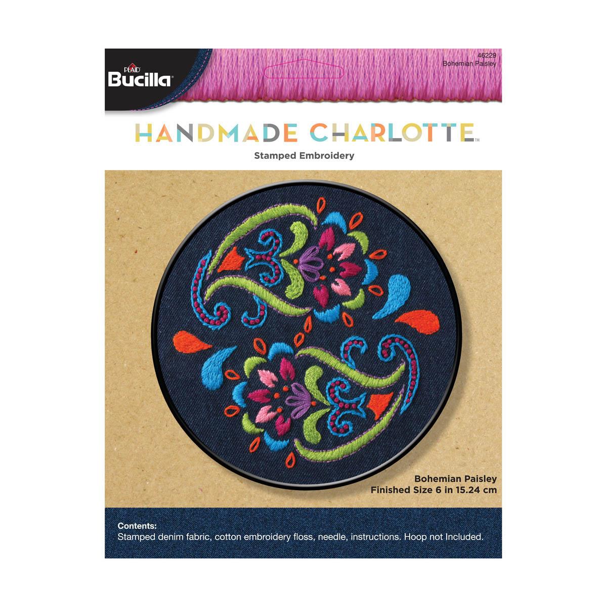 Bucilla ® Stamped Embroidery Handmade Charlotte™ - Denim Bohemian Paisley - 46229