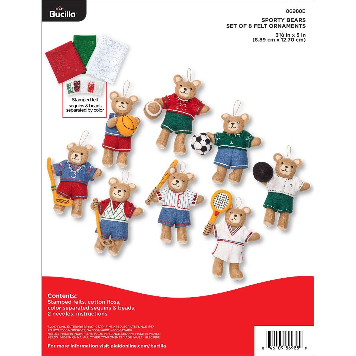 Bucilla ® Seasonal - Felt - Ornament Kits - Sporty Bears - 86988E
