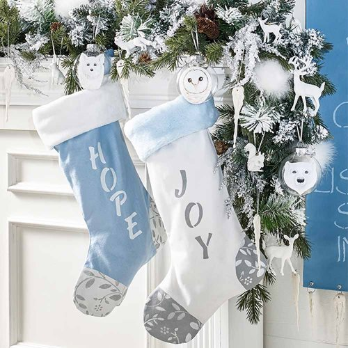 DIY White Christmas Stockings