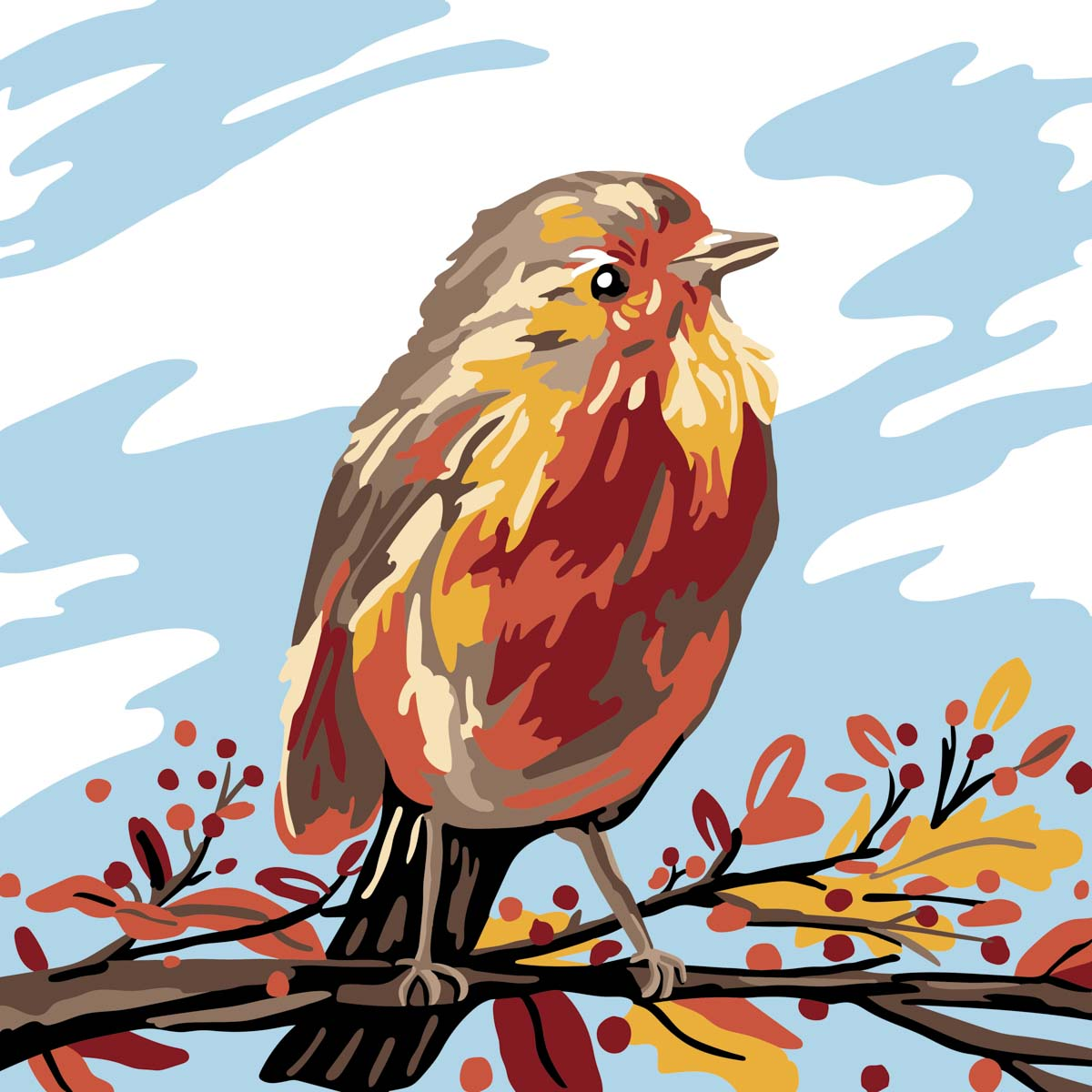 Plaid ® Let's Paint™ Modern Paint-by-Number - Fall Bird - 17914