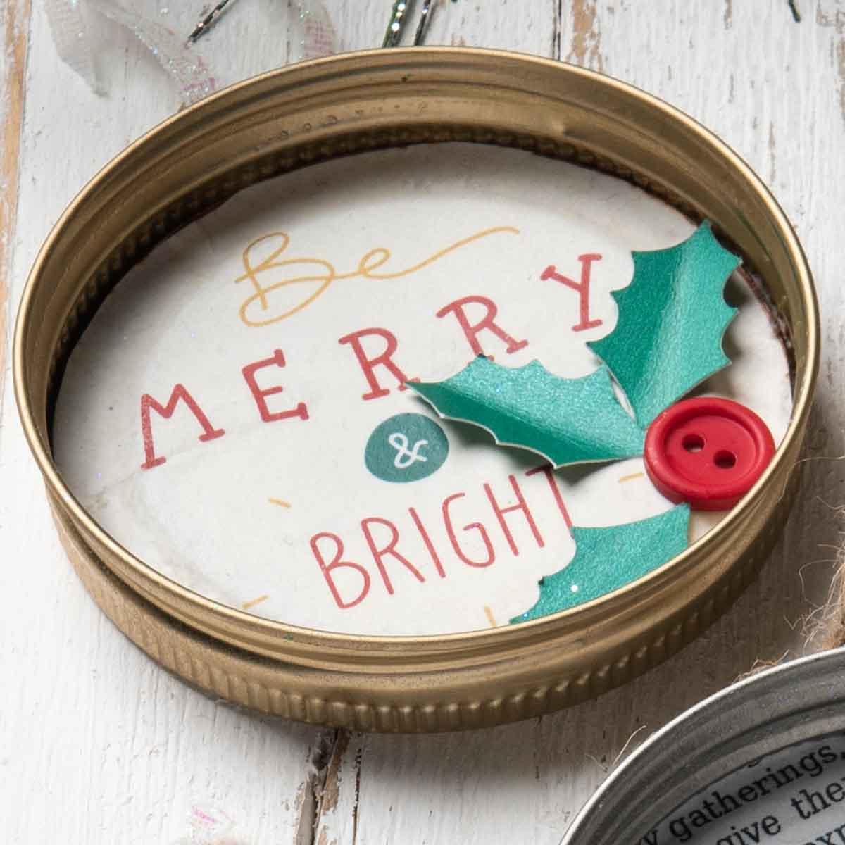 Cheerful Mason Jar Lid Ornaments