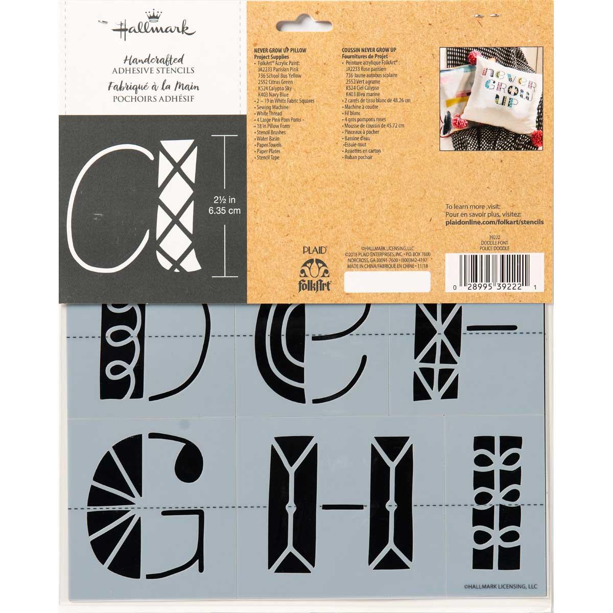 Hallmark Handcrafted Adhesive Stencils - Doodle Font, 8-1/2