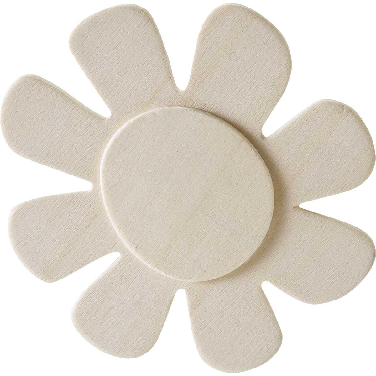 Plaid ® Wood Surfaces - Unpainted Layered Shapes - Flower, 8 Petal - 97092