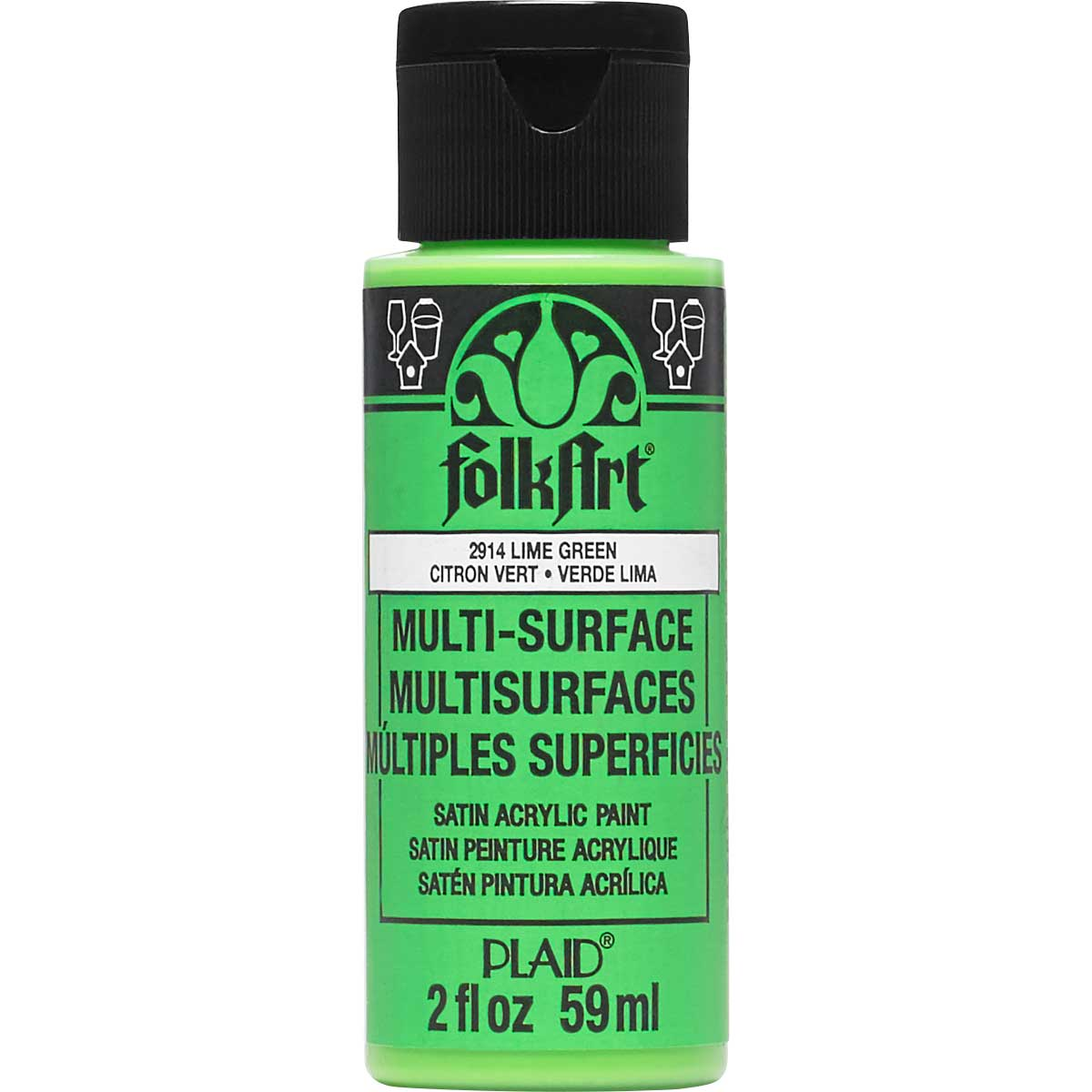 FolkArt ® Multi-Surface Satin Acrylic Paints - Lime Green, 2 oz. - 2914