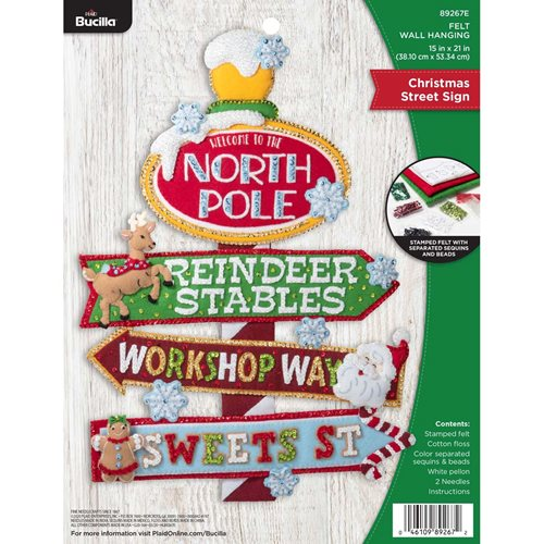 Bucilla ® Seasonal - Felt - Home Decor - Christmas Street Sign Wall Hanging - 89267E