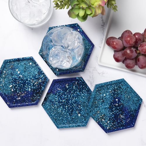 Blue Galaxy Resin Coasters