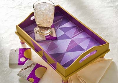 Radiant Orchid Geometric Wood Tray