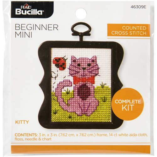 Bucilla ® Counted Cross Stitch - Beginner Stitchery - Mini - Kitty - 46309E