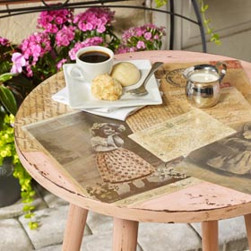Vintage Parisian Table - Furniture Decoupage Idea